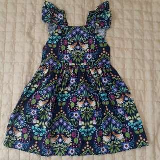 Girls dresses floral printed flutter dress