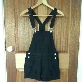 Black overalls / dungarees / playsuit
