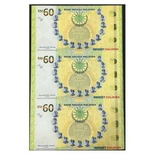 RM60 Uncut 3-in-1 (Note No.: 73853, 74353 & 74853) Malaysia Commemorative Banknotes (60th Anniversary of the Signing of the Federation of Malaya Independence Agreement)