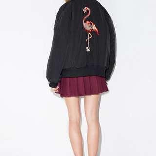 Black Flamingo Bomber Jacket