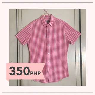 Marks & Spencer Pink Checkered Button Down Polo