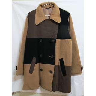 vintage 古著 大地色塊毛呢質感寬鬆大衣
