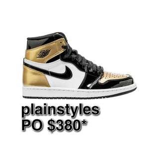 [ALL SIZES] Nike Air Jordan 1 Retro High Patent Gold Toe