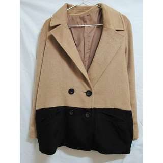 vintage 古著 雙拼色毛呢質感西裝領大衣