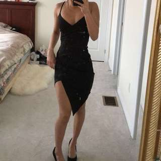 Black bodycon wrap dress