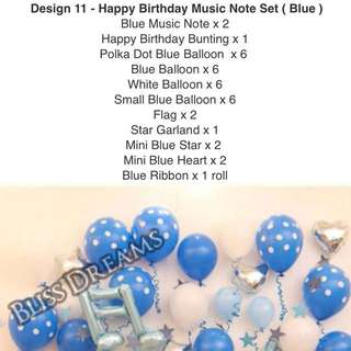 Design 11 - Happy Birthday Music Note Set (Blue)