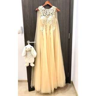(Rental) Embroidered Nude Cream Evening Gown