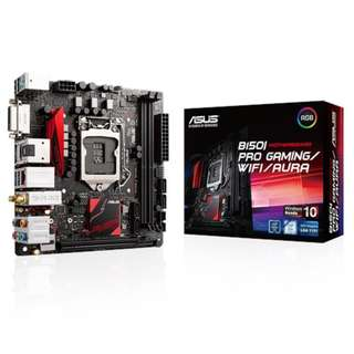 Asus B150i PRO Gaming/Wif/iAURA | Intel® Socket 1151 for 7th/6th Generation Core™ i7/Core™ i5/Core™ i3/Pentium®/Celeron® Processors | mini-ITX | Dual-channel DDR4 2133 Support | HDMI/DVI-D Ports