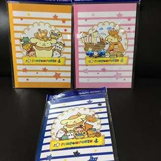 Sanrio Pom Pom Purin 布甸狗 日本限定 筆記簿 1套3本