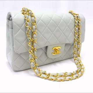Chanel Baby Blue 2.55 Flap Vintage Handbag With Golden Chain