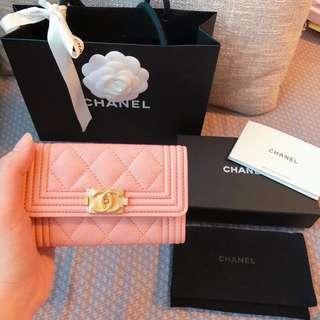 Boy Chanel 粉紅色 card holder 卡片套 細銀包 boychanel