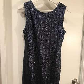 Mendocino Navy Blue Low Back Sequin Dress