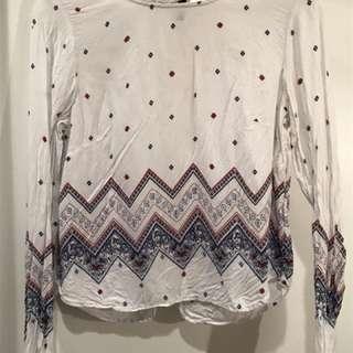 H&M Geometric Pattern Long-Sleeve Crop Blouse
