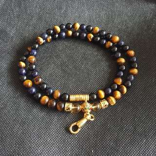 Sold - Good Quality & Nice Sky Blue Sandstone beads, Black Onyx beads, Tiger Eye, Yellow crystal 1 hook necklace