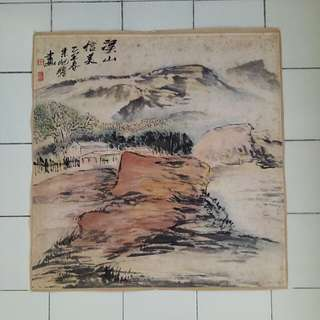 80s Chinese painting warm home at the valley size 68x68cm