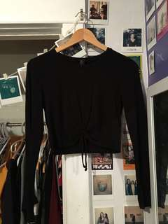 Black cropped tie top