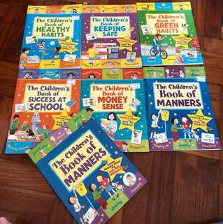 Set of Children's book of Manners Healthy habits keeping safe money sense and success at school  set of 6 books with activity's