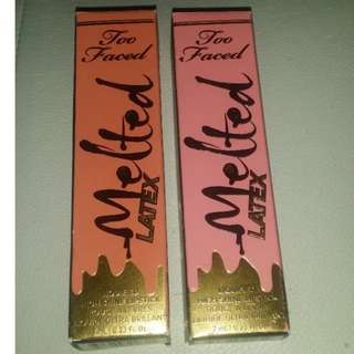 2 Too Faced Melted Latex liquid to matte lipsticks new only swatched Hopeless Romantic and Peekaboo FREE POST