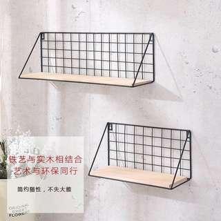 🚚 (PO) Metal Wall Hanger Shelves Wooden Board Base Organizer
