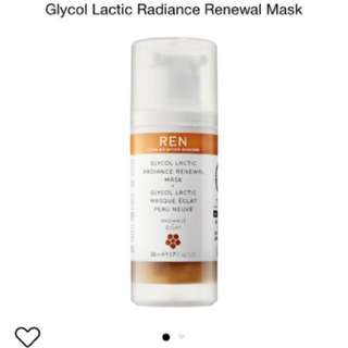 REN glycolic acid radiance face mask