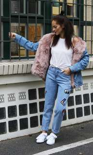 Pinko Fur lined denim jacket XS