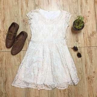 Beige Laced Dress