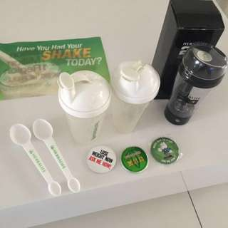 Herbalife shaker cups, badges and flag
