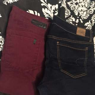 American eagle demin size 12 pants, maroon skinny jeans size 12
