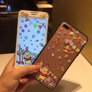 小熊維尼 卡通公仔 手機保護玻璃貼 + 電話套 Winnie The Pooh Disney