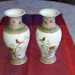 A Pair Of Vintage Famille Rose Vases