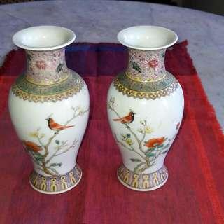 A Pair Of Vintage Famille Rose Vases