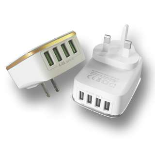 4 USB port desktop charger usb Auto-ID comatible charger. it is compatible with apple devices android devices and various digital devices.