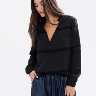 Finders Keepers Bachelor Black Wrap Top shirt blouse