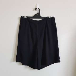 Black High Waisted Culotte Shorts