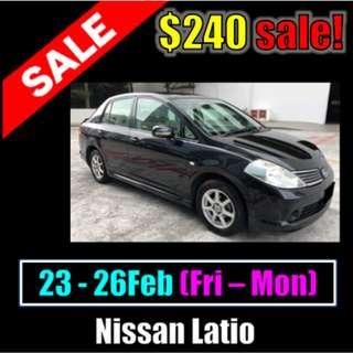 23/02 - 26/02 Weekend Promotional $240 Nissan Latio