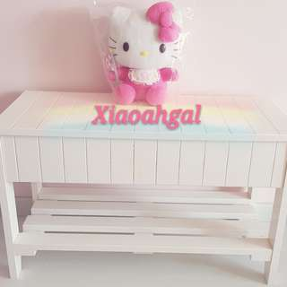 **RESERVE**🔴50%➡️ FOLLOWERS ONLY!🔴🌟NEW --LESS THAN 2 YRS!🌟AUTHENTIC French White Shabby Cottage European furniture bench + storage (only used to put dolls & plush as decor)💋No Pet No Smoker Clean Hse💋