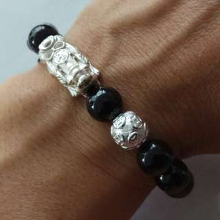 10mm Black Tourmaline Crystal with a S999 Pure Silver Pixiu and Pure Silver Money Ball