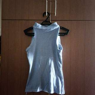 Blue Turtle Neck Sleeveless