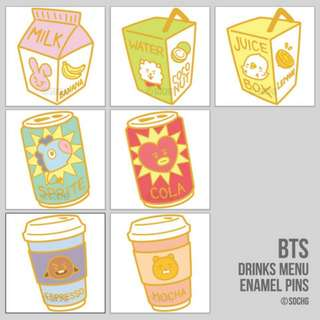 [SG GO] BTS BT21 Drinks Menu Enamel Pins