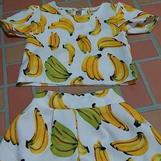 Banana Print Set for Girls