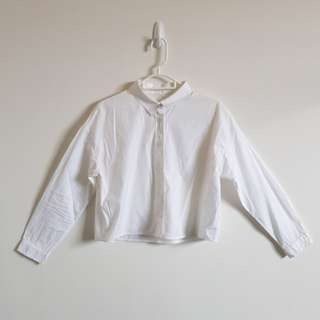 White Cropped Button Up