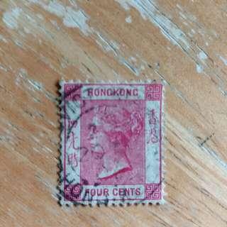 香港郵票维多利亞女皇像4仙红色已銷郵票