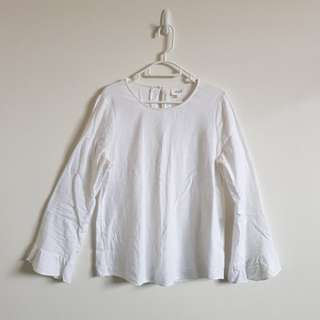 SEED White Flaired Sleeve Top