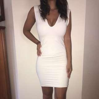 Kookai Size 1 White Bodycon Dress