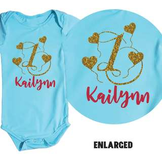 First Birthday Baby Romper - Heart Balloon Glitter