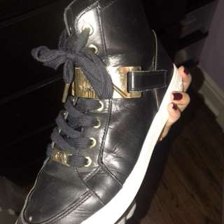 Micheal Kors Black Leather Hightop Sneakers (8 US)