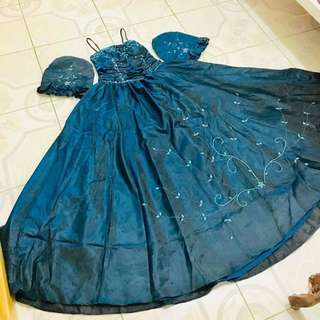 Blue Green Gown (Convertible to Filipiniana)