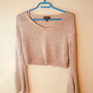 SHIMMER Long Sleeve Crop Top
