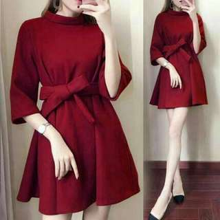 JY Winter Dress Maron @80 matt bbterry +obi pj88cm ld108cm fit to XL
