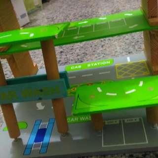 木製雙層組合積木停車場 停車塔